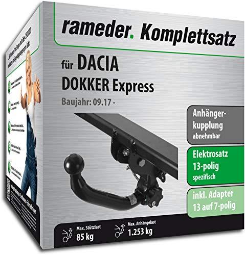 Rameder Komplettsatz, Anhängerkupplung abnehmbar + 13pol Elektrik für Dacia DOKKER Express (153263-11137-1) (Express Van Anhängerkupplung)