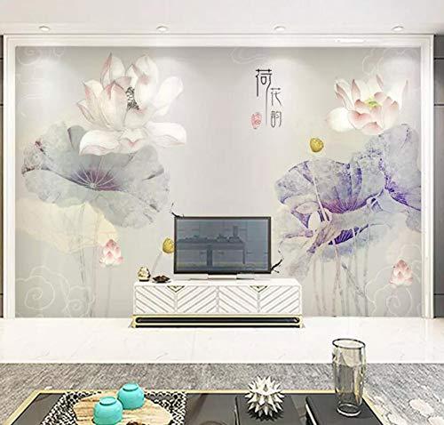 3D Vliestapete[Kopie] -Chinese Lotus Tv Hintergrund Wand