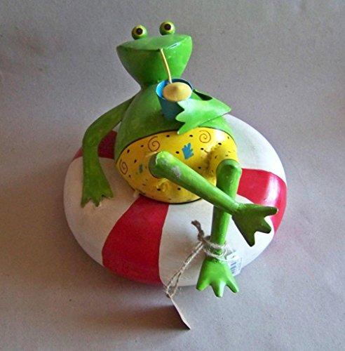 Gartenfigur Teichfigur Frosch mit Cocktail