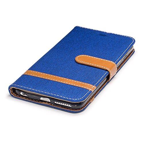 Custodia per Apple iPhone 6 Plus, ISAKEN iPhone 6S Plus Flip Cover, 5.5 inch Custodia con Strap, Elegante Bookstyle Contrasto Collare PU Pelle Case Cover Protettiva Flip Portafoglio Custodia Protezion Marrone+blu