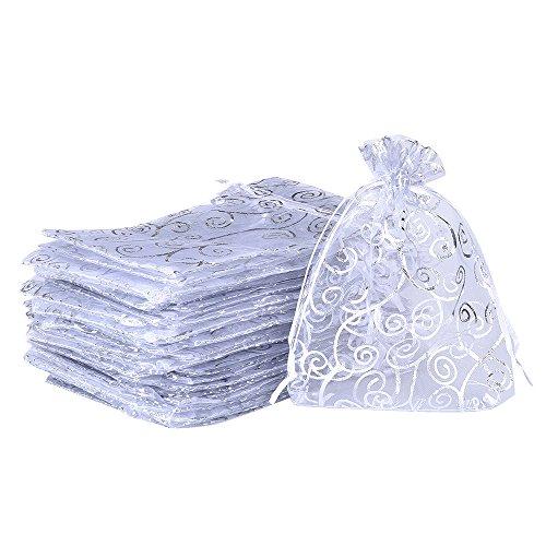 50 pezzi sacchetti organza buste sacchetto di gioielli bomboniera sacchetti di regalo festa bianco