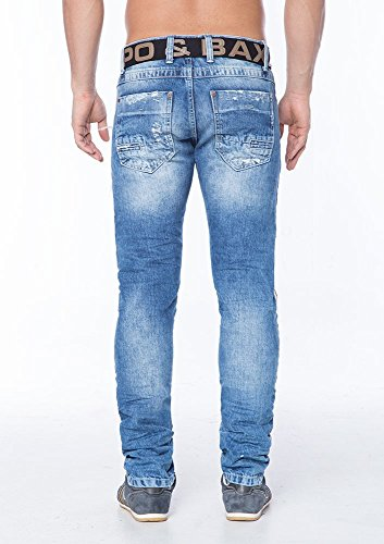 Cipo & Baxx Herren Jeans / Straight Fit Jeans Destroyed Jeans-Blau