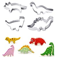 LSAltd Home Kitchen Tools Stainless Steel Dinosaur Cookies Cutter Biscuit Pastry Cake Mould 4PCS