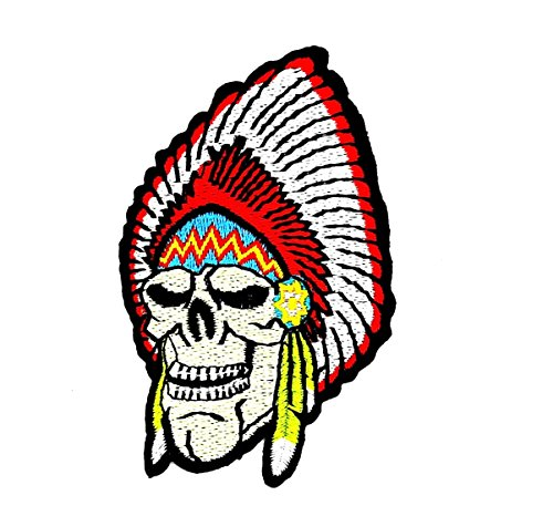 rabana Native American Indian Feder Totenkopf Ghost Skelett Outlaw Biker Rider Motorrad Patch für Heimwerker-Applikation Eisen auf Patch T Shirt Patch Sew Iron on gesticktes Badge Schild Kostüm