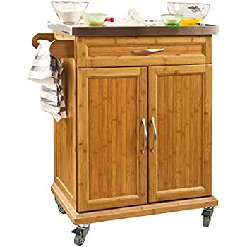 Charming SoBuy® Bamboo Kitchen Cabinet, Kitchen Storage Trolley Cart With Stainless  Steel Surface, 66x46x90cm