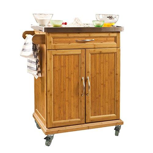 SoBuy® Luxus-Küchenwagen aus hochwertigem Bambus mit Edelstahltop, Küchenschrank, Kücheninsel B66xT46XH90cm FKW13-N