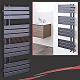 "500mm(w) x 1200mm(h) ""Apollo"" Designer Anthracite Towel Rail 3323 BTU's"