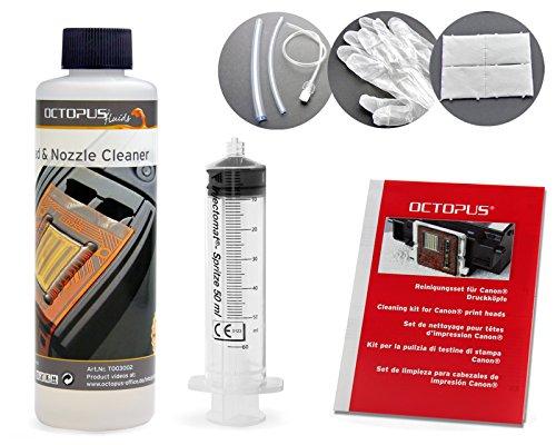Octopus 250 ml Düsenreiniger, Druckkopfreiniger für Canon Pixma Druckköpfe mit Schlauchadaptern (250 ml)