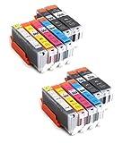 12x Compatible tinta cartuchos reemplazo for CANON PGI-550 XL / CLI-551 XL con CANON Pixma MG6350