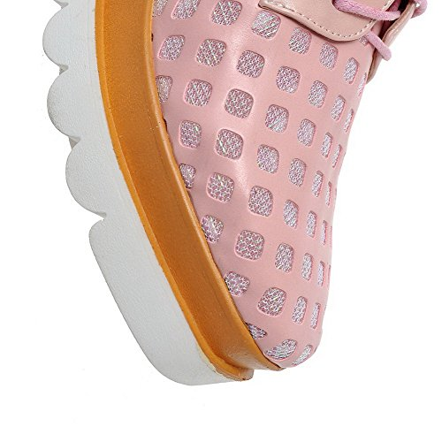 AgooLar Damen Quadratisch Zehe Schnüren Pu Leder Rein Mittler Absatz Pumps Schuhe Pink