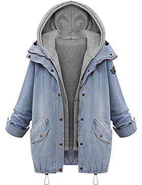 Lenfesh De las 2 piezas Trajes Set Chaqueta + Hooded Chaleco Invierno Abrigo largo de Mujer Jacket de Mezclilla...