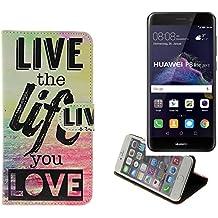 360° Funda Smartphone para Huawei P8 Lite 2017 Dual SIM, 'live the life you love' | Wallet case flip cover caja bolsa Caso Monedero BookStyle - K-S-Trade