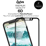 Lustren Premium Moto One Power Tempered Glass Original 6D (Better Than 5D) Screen Guard With 9H Gorilla Full Screen Scratch And Temper Protection Black - Pack Of 2 [Introductory Offer]