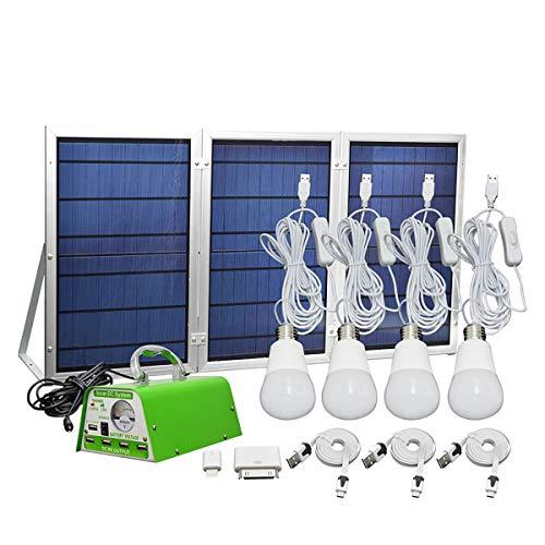 Saiko 30W netzunabhängiges Solar-Beleuchtungssystem-Kit mit tragbarer Power 5-Handy-USB-Solar-Ladegerät 4 LED-Glühbirnen als Notlicht für den Hofgartenbereich