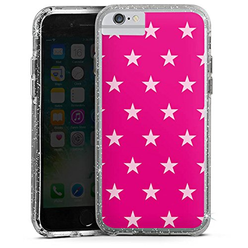 Apple iPhone 7 Bumper Hülle Bumper Case Glitzer Hülle Star Stern Pink Bumper Case Glitzer silber