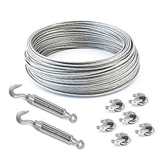 SET 5m steel wire rope galvanised 3mm strand: 6x7 + 6 clips + 2 turnbuckles hook-eye - many sizes avaliable