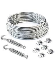 SET 100m câble acier galvanisé 6x7 4mm + 6 serre-câbles étrie et 2 tendeurs a cage crochet-oeil