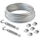 SET 100m câble acier galvanisé 6x7 3mm + 6 serre-câbles étrie et 2 tendeurs a cage crochet-oeil