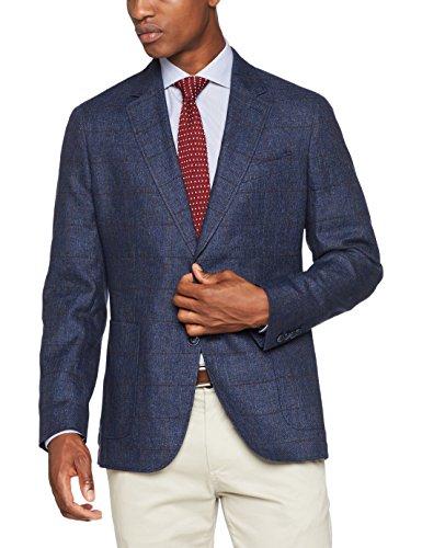Hackett London Linen Wool Wpane, Blazer Uomo Multicolore (5dcnavy/red)