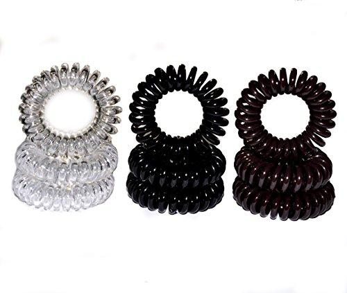 Miya 9er Set hochwertige Haargummi in schwarz braun und crystal clear, je 3 stücke, elastisch...