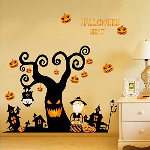 GZZQTT Halloween Nacht Wandaufkleber DIY Schreckliche Baum Haus Geist Haus Kürbis Lichter Dekorative Malerei Schlafzimmer Wohnzimmer - Halloween-geister-baum Diy