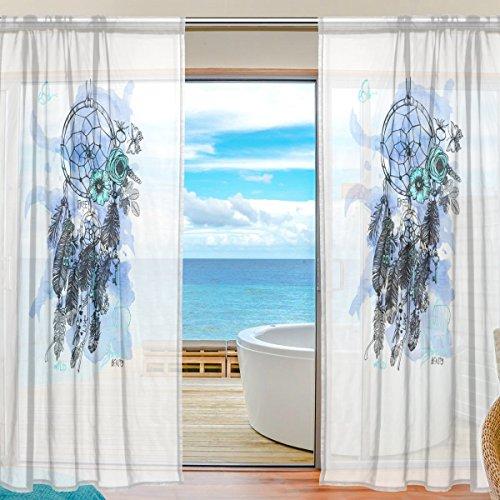FFY Go - Cortina de gasa para ventana, atrapasueños impreso, material suave para dormitorio, sala de estar, cocina, decoración de puerta, 2 paneles de 198 x 139,7 cm