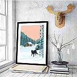 XWArtpic Nordic Woodland Deer Waldtiere Leinwand Malerei Poster Print Skandinavien Wandkunst Bilder für Wohnzimmer Wohnkultur F 30 * 40 cm