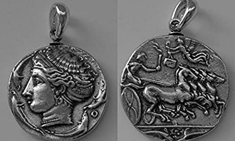 Arethusa Patron Nymph of Syracuse and Quadriga with Nike Coin Pendant, (# 80-Pend-S) 405-380 B.C. 19 mm 8g, (US Dime 18