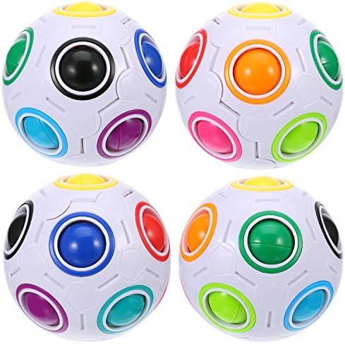 4 Pièces Puzzle Boule Magique Arc-en-Ciel Jouet Jouet Jouet de Balle Vitesse Casse-Tête avec 11 Couleurs d'Arc-en-Ciel d950b8