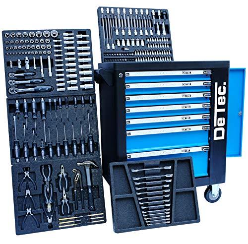 Blue Edition DeTec | Carro taller con 7 cajones - 5 llenos de herramientas manuales