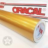 hauptsachebeklebt Klebefolie Oracal 621 Folien Set 091 - Gold - 5m x 61,5cm - Orafol - Möbelfolie - Plotterfolie - Selbstklebend (Folien Set inkl. Weichem Filzkantenrakel)