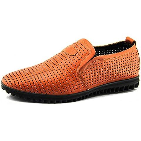 Sandalias casuales verano genuino hombre/zapatos de cuero/Ahuecando la sandalia de hombre perezoso