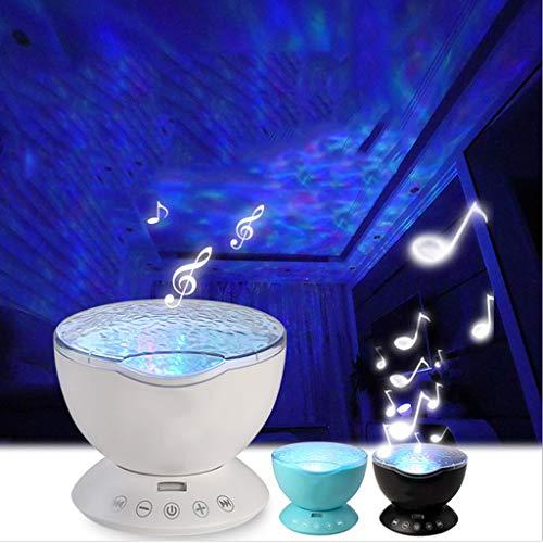 Chuhe - Ozean Nacht Lampe Projektor Musik Player 7 LED Lichter Modi Audio Stecker Mini Verstärker Fernbedienung Lautsprecher Kreatives Design