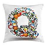 Ocabags Letter Q Throw Pillow Cushion Cover, Typographic Letter Font Design with Various Gaming Balls Athletic Kids Teamplay, Decorative Square Accent Pillow Case, 18 X 18 inches, Multicolor