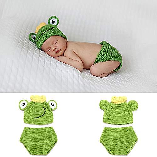 Frosch Kostüm Augen - NROCF Große Augen Frosch Baby Foto Fotografie Requisiten Kleidung, 0-6 Monate Baby Neugeborenen Anzug, Mit Krone Grün Kinder Fotografie Requisiten