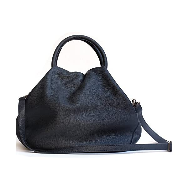Leather black round handle shoulder bag for women's - handmade-bags