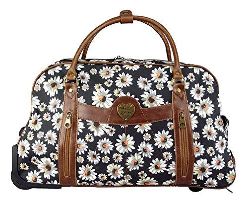 änseblümchen Blume Gepäck Wochenende Reise Tasche (Groß, Schwarz) (Tiffany Schal)