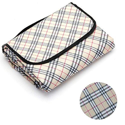 Livehitop coperta picnic spiaggia 200x200 cm impermeabile, portatile pieghevole grande xxl tappeto per pic-nic campeggio all'aperto, 78.74''x78.74'' (beige griglia)