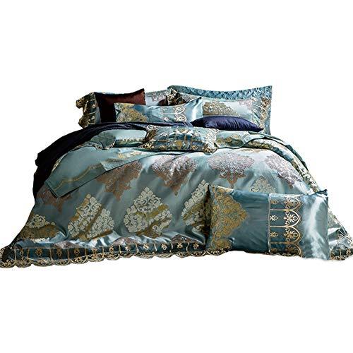JYTT Komfort-räume Klassisch Bettwäsche Set, Nach unten tröster 10 stück Grün Ganze Saison Königin Jacquard Faux Seide Schlafzimmer bettdecken-A Queen2 -