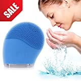 Facial Cleansing Brush - Electric Waterproof Silicone Face massager Anti-Aging Skin Cleanser and Deep Exfoliator - Makeup Removal Tool for Facial Polish and Scrub. 100% Satisfaction Guaranteed! in Pink or Blue (Blue)