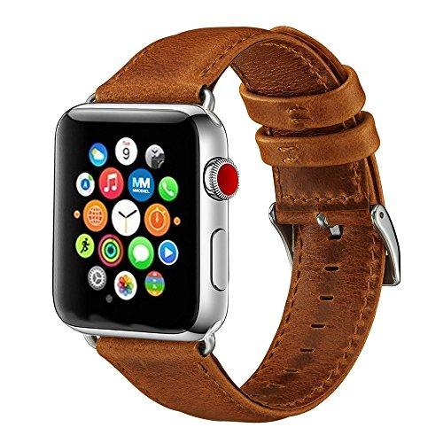 MMOBIEL Leder Uhrenarmband 42 mm (Braun) Lederarmband Ersatz Band für Apple Watch Alle Serien