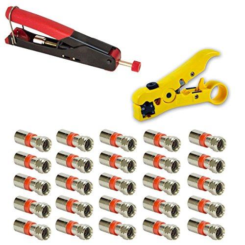 Kompressions-stecker F-typ-stecker (Kompressionszange mit wasserdichter Steck-Klemmtechnik Crimpzange Zange + Universal Abisolierwerkzeug Abisolierer + 25x XCon S2 F-Kompressionstecker für 7 - 7,5mm SAT Kabel Koaxialkabel koax Kabel)