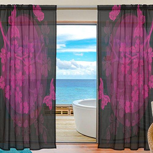 Sheer Voile Fenster Vorhang Vintage Cherry Floral bedrucktes Weiches Material für Schlafzimmer Wohnzimmer Küche Decor Home Tür Dekoration 2Felder 198,1x 139,7cm - Sheer Cherry
