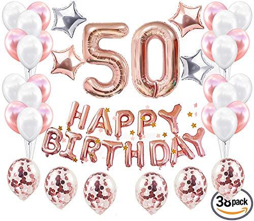 JeVenis 38 STÜCKE Rose Gold 18. Geburtstag Dekorationen Party Supplies Nummer 50 Geburtstag Luftballons Alles Gute zum Geburtstag Ballon Banner 50 Geburtstag Dekorationen für Sie
