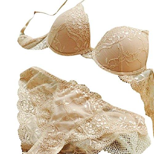 Hee Grand Sexy Damen Push-Up Spitze Dessous Set Buegel-BH & Slip Elegant BH Teint 75B (Sexy Slip Und Bh)