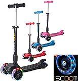 iScoot Blaze© Light Weight 3 Wheel Tilt and Turn Folding Kick Scooter with LED Light Up Wheels T-Bar Bobbi Board for Boys / Girls / Children / Kids - Ages 5-12