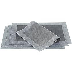 Manteles individuales Culinato® de color gris, elegantes, decorativos, modernos y resistentes en un juego de 4 unidades (45x30cm respectivamente)