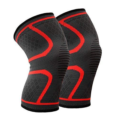 Beskey Kniebandage (Paar) Anti-Slip Kniestütze Super Elastisch Atmungsaktiv Knee Sleeves Hilfe Joint Pain Relief für Arthritis Leidende und Erholung von Verletzungen Fit für den Sport (rot, L)