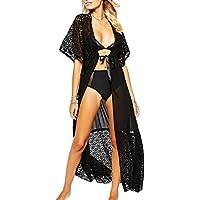 DELEY Donne Sexy Solare Pizzo Hollow Out Cardigan Robe Vestito Lungo Spiaggia Bikini Coprire