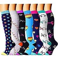 Aisprts 7 Pair Compression Socks for Women & Men-for Medical, Nursing, Running & Fitness -  -  S/M